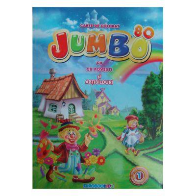 Jumbo cu povesti si abtibilduri  Carte de colorat A4